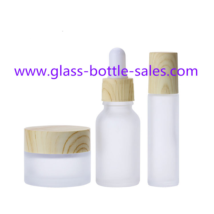 Frost Glass Bottles For Essential Oil, Cosmetic,Roll With Wood Caps