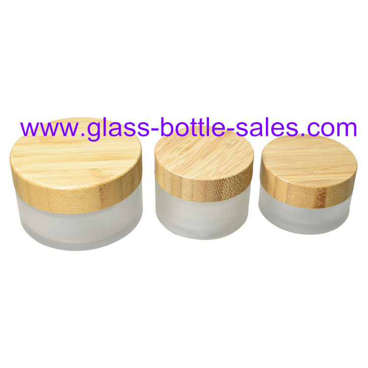 15g,30g,50g,100g Frost Round Glass Cosmetic Jars With Bamboo Lids